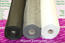 Iron On Fusing Interfacing Light Weight 1.5m (150cm) Wide White Black Charcoal