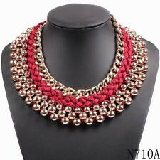 gold plated chain string braided chunky statement bib choker necklace collar