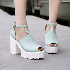 Womens Ankle Chunky Heel Platform T-Strap Mary Jane Peep Toe High Heel Shoes