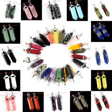 28 Colors Hexagonal Crystal Clear Point Pendant Chakra Beads Gemstone Necklace