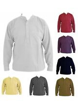 Plain Heavy Collarless Grandad Shirt sizes small to 2XL - 14 Different colours