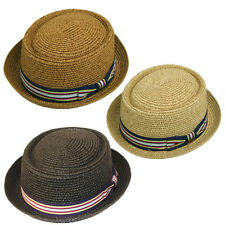 New Man Summer Straw Porkpie Fedora Stripe Band Cuban Style Round Short Brim Hat