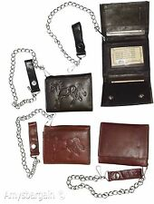 Chain Trifold wallet, Genuine Leather, Motorcycle, Trucker, Biker, Billfold  NWT