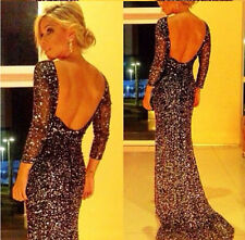 Women Sexy Long Sequins Evening Formal Party Wedding Prom Dresses Ball Gowns