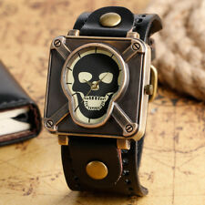 Fashion Skull Skeleton Genuine Leather Bracelet Quartz Wrist Watch Mens Boy Gift