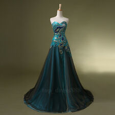 New Peacock Formal Cocktail Gown Prom Dress Bridal Wedding Evening Party Dresses