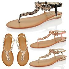 WOMENS LADIES SUMMER SANDALS DIAMANTE THONG LOW WEDGE FLAT HOLIDAY BEACH SHOES