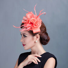 Women party church flower handmade fascinators hat feather headband with clip