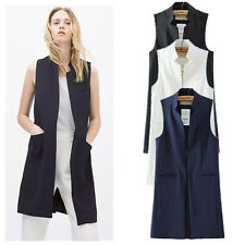 Women's Charming Fashion Sexy Solid Sleeveless Long Blazer Suit Vest Size S M L