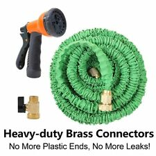 Deluxe 25 50 75 100Feet Expandable Flexible Garden Water Hose+Spray Nozzle Green