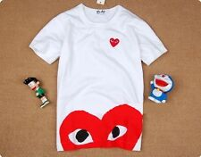 WHITE PLAY T-SHIRTS HEART COMME Des GARCONS CDG UNISEX SHORT SLEEVE S-L.