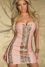 Pink/Gold Sparkling Gold Sequin Strapless Dress