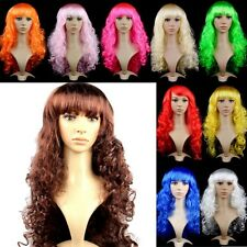 Multi-color Sexy Womens Long Curly Curl Wavy Hair Anime Cosplay Party Full Wigs