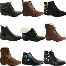 WOMENS LADIES LOW FLAT HEEL PULL ON STRETCH CHELSEA RIDING ANKLE SHOE BOOTS SIZE