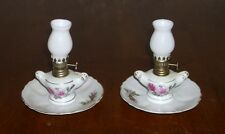 """2 Vintage miniature Porcelain Oil Lamp hand painted with Roses 5"""" tall"""