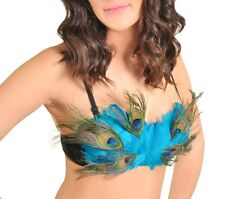 BEAUTIFUL TURQUOISE PEACOCK FEATHERS CONVERTIBLE BRA