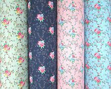Floral PolyCotton Fabric  - Vintage Traditional Blooming Roses - Blue Pink Mint
