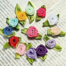 100pcs Satin Ribbon Flowers Rose Wedding Decor Sewing Appliques DIY Craft