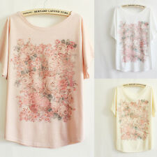 Summer Fashion Women Flowers Printed Batwing Sleeve Loose Cotton T-shirt Tee Top