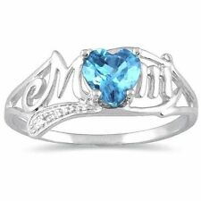0.50 Ct Blue Topaz & Diamond Heart Mom Ring .925 Sterling Silver
