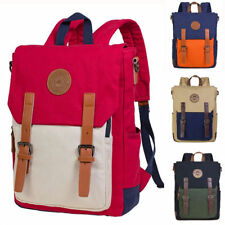 Men Women Canvas Leather Travel Backpack Shoulder School Laptop Bag Satchel