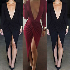 Sexy Women V-Neck Going Out Club Bodycon Plunge Low Cut Party Evening Midi Dress