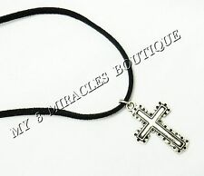 Boys Teens Silver Plated CROSS NECKLACE Pendant 1st Communion Confirmation Jesus