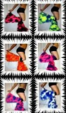NEON UV PINK BLUE BLACK FLUFFIES FLUFFY CAMO LEGWARMERS BOOT COVERS CYBER RAVE