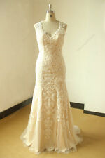 Champagne Bride gown Keyhole back Fit and flare Vintage lace Wedding dresses