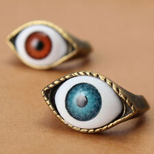 Vintage Retro Punk Bronze Evil Eye Finger Rings Womens Rock Eyeball Jewelry Gift