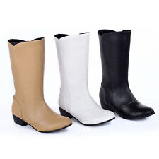 New Womens Comfort Low Heel Boots Mid Calf Fashion Shoes AU All Size B080