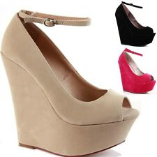 LADIES WOMENS PLATFORM HIGH HEEL PEEPTOE STRAPPY WEDGE SANDALS SHOES SIZE 3-8