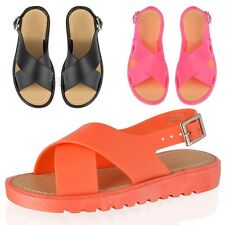 Girls Kids summer jellies crossover sling back holiday beach jelly sandals size