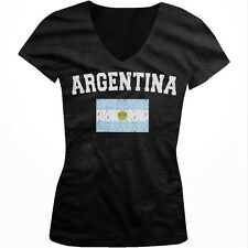 Argentina Faded Distressed Flag Argentinian Country Pride Juniors V-neck T-shirt