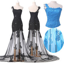 Plus Size Long Evening Dresses Formal Party Prom Bridesmaid Lace Dress Ball Gown