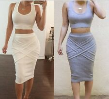 2 Piece Tank Crop Top and Pencil Skirt Set Outfit Bodycon Bandage Party dress