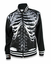Liquorbrand Skeleton Ribs Bomber Jacket Punk Horror Goth Psychobilly Winter Coat