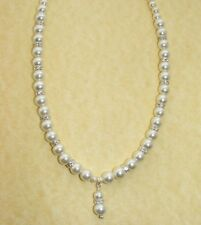 Bridal Glass Graduated Pearl Necklace Earrings Bracelet Wedding Day Ivory