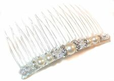 CREAM Pearl & CLEAR AB Crystal Hair Comb Bridal Swarovski Elements