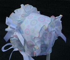 Pastels and White Ruffle with White Satin Ribbon Bows &Ties Baby Summer Bonnet