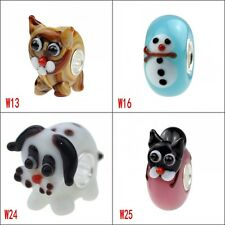 handmade European Style animals Murano glass bead with 925 Sterling Silver tube