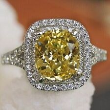 Luxury 2 CT Cushion Cut Yellow Diamond Halo Style Women Wedding Engagement Ring