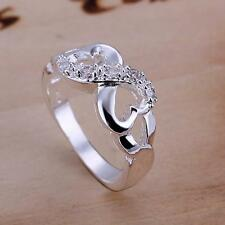 Lady 925 Sterling Silver Wedding Engagement Infinity Love Knot Ring US Size 6-10