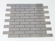 Silver Stainless Steel Metal 0.75 x 2.75 Mosiac Brick Sheets
