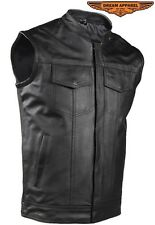 MEN'S MOTORCYCLE RIDING SON OF ANARCHY STYLE LEATHER VEST W GUN POCKET BLACK NEW