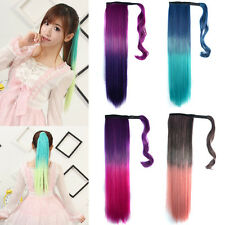 """24"""" Straight Wrap Around Ombre Dip Dye Clip In Ponytail Hair Extensions 7 Colors"""