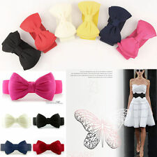 Fashion Girl Women Elastic Wide Stretch Buckle Bowknot Bow Waistband Waist Belt