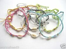 Cowrie shell braided cord adjustable plait anklet surf Fair Trade choose colour