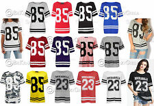 New Womens Ladies USA Baseball 85 Stripe Varsity Baggy Oversize Top T Shirt