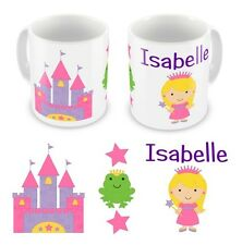 Personalised Children's Kids Printed Princess Castle Mug Cup Gift Boxed Any Name